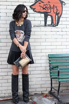 Sweater: Zara, old (similar style here); Skirt: H (similar style here); Bag: Opening Ceremony (similar style here); Jewelry: Oscar de la Renta necklace, Michael Kors watch This Time Tomorrow Style Me, Cool Style, Givenchy Boots, Accordion Skirt, Fade Styles, Indie Girl, Outfit Posts, Autumn Winter Fashion, What To Wear