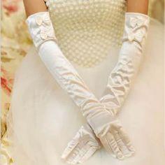 Ivory White Satin Over the Elbow Formal Wedding Bridal Dress Gloves SKU-11201075