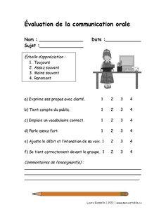 Mon cartable - Site de partage de ressources entre enseignants du préscolaire et du primaire - www.moncartable.ca - Grille d'évaluation d'une communication orale