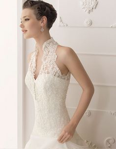 Cassie's Wedding Dress in Operation: Endurance (Alma Novia Wedding Dress 2012 Collection #lace #halter)