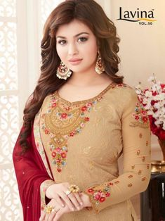 Lavina lavina Vol 50 embroidered colourful Salwar Kameez Collection South Indian Actress Photo, Indian Actress Photos, Beautiful Girl Indian, Most Beautiful Indian Actress, Embroidery Fashion, Embroidery Dress, Heavy Dresses, Sleeves Designs For Dresses, Beauty Full Girl