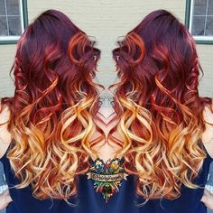 Wonderful sunset hair color style~ Red ombre to blonde, you should not miss: