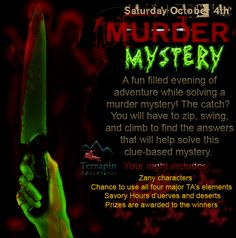 Kick off the #spooky season with our annual Murder Mystery! Zany characters, nighttime climbing, and more! #takethechallenge #terrapinadventures