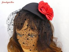 Black Head Cap with Red Rose and Tulle by JewelryinBox on Etsy, $65.00