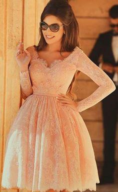 Charming Long sleeve lace homecoming dress, peach homecoming dress, short homecoming dresses, 2016 homecoming dress, short prom dresses by DRESS, $135.00 USD