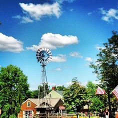 """Sunny sky over the characteristic windmill in @peddlersvillage, captured by Instagram user @nicholeanncom during the 2014 """"Capture Your #BucksCountyMoment Photo + Video Challenge."""""""