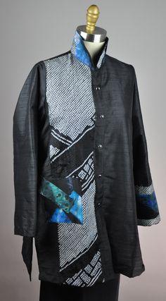 "Raw Collage / Mosaic Swing Top blouse antique kimono fabric and MK Studio shibori.  Small 30"" long SOLD"