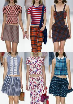 Vanessa Bruno S/S 2014-Small Scale Motifs – Geometric and Optical Patterns – Sportswear Stripes and Checks – Tartan Experiments – Vertical Stripes – Cute Ditzy Flo...