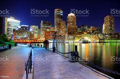 Nighttime view of Boston from the Riverwalk  Boston - Massachusetts Stock Photo Best Stocks, River Walk, Boston Massachusetts, Come And See, Feature Film, Billboard, Night Time, Royalty Free Images, Social Media