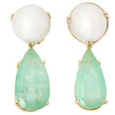 SEAMAN SCHEPPS Emerald and South Sea Pearl Ear clips