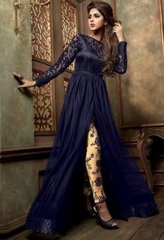 Navy Designer Net Salwar Kameez With Embroidery Work...@ fashionsbyindia.com #designs #indian #fashion #womens #style #cloths #fashion #stylish #casual #fashionsbyindia #punjabi #suits