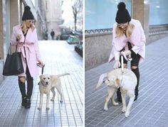 ALL BLACK EVERYTHING   PINK COAT  Fashion blogger dog