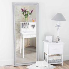 Specchio in legno di paulonia grigio H 125 cm EMELINE