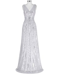 Silver Long Sequin Evening Dress V Neck Cheap Evening Gowns Sleeveless Prom Party Formal Dresses