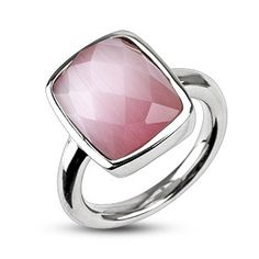 Pink Prism - Pink Prism-Cut Stone Stainless Steel Highly Polished Comfort-Fit Ring
