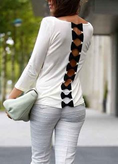 White Patchwork Cut Out Bow Back Long Sleeve Slim Casual T-Shirt - T-Shirts - Tops