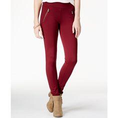 American Rag Ponte Zipper Leggings, ($40) ❤ liked on Polyvore featuring pants, leggings, zinfandel, zipper pants, white ponte knit pants, white pants, white trousers and white ponte pants