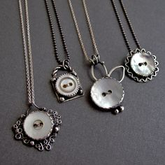 https://flic.kr/p/9gK9Jo   Vintage Button Necklaces   mother of pearl buttons, sterling silver