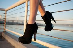 #Black High Heel Ankle Boots