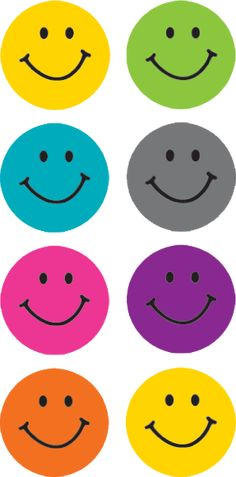 """Bright Happy Faces Mini Stickers - Stickers are acid-free and lignin-free. Measures approx. About 1/2"""" diameter. 7 colors. 378 stickers total."""