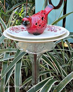 Red Cardinal Garden Whimsy Stake / Garden by GardenWhimsiesByMary