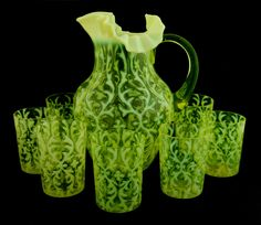"""collectorsweekly: """"""""Spanish Lace"""" water pitcher and glasses made by Northwood, circa """" Depression Art, Antique Shelves, Vaseline Glass, Glass Pitchers, Fenton Glass, Drinking Glass, Glass Paperweights, Carnival Glass, Vintage Glassware"""