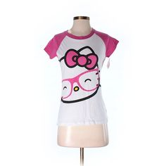 Hello Kitty Short Sleeve T Shirt ($12) ❤ liked on Polyvore featuring tops, t-shirts, pink, pink tee, hello kitty t shirt, hello kitty, pink t shirt and hello kitty top