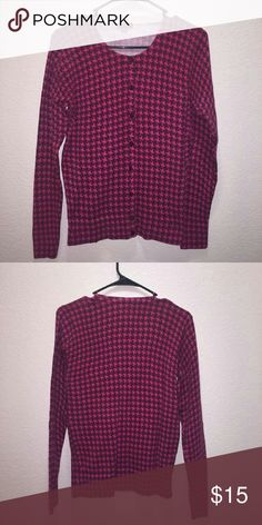 Merona pink houndstooth cardigan Gently used super soft cardigan! Merona Sweaters Cardigans