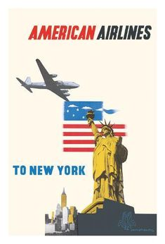 Dallas Texas American Airlines United States Vintage Travel Art Poster Print