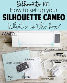 Silhouette 101: How to set up your Silhouette CAMEO. This beginner series is packed with tips and tricks just for newbies! Pinning!! Silhouette America, Silhouette School, Silhouette Cameo Machine, Silhouette Cameo Projects, Silhouette Design, Silhouette Files, Silhouette Cameo Freebies, Silhouette Cameo Software, Silhouette Studio
