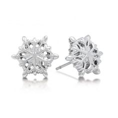 White Gold Plated Frozen Snowflake Stud Earrings from Disney Couture : Main Disney Couture Jewelry, Disney Jewelry, Gold Plated Earrings, Stud Earrings, Frozen Jewelry, Frozen Snowflake, Diamond Are A Girls Best Friend, Pandora Jewelry, Jewelry Gifts