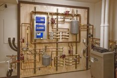 "Mechanical Room -- probably easier to set up using this guy's approach: ""I built this in the shop on two sheets of plywood, drove it 3.5 hours, and installed it at the jobsite."""