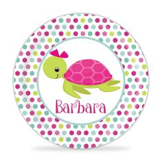 Ocean Plate - Pink Sea Turtle Melamine Personalized Plate. 1 Personalized Melamine Plate - makes a Great Kids Gift ~ I Design and Customize, You Give the Perfect Gift! ~ These Personalized Plates are a perfect way to spice up every meal time! Your little one will always enjoy seeing their name on their plate. Watch your Child light up, when they see their plate coming! This will become the new go-to for meal time! This is perfect for all ages and makes a great present for any child. This...