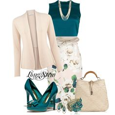 """Untitled #240"" by longstem on Polyvore A great outfit to wear for a special occasion. I love the Pink & Teal together."