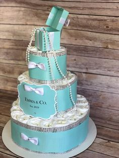 Baby & Co Shower Diaper Cake Centerpiece Robin Egg Blue Bling w/ White Bows, Pearl Box as Cake Topper 3 Tier 60 Diapers Included Tiffany Cakes, Tiffany Theme, Azul Tiffany, Tiffany Birthday Party, Tiffany Party, Tiffany Wedding, Birthday Cakes, Diaper Cake Centerpieces, Baby Shower Centerpieces