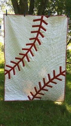 A fun baseball quilt! Find another one at GAndTheBear.etsy.com! #BaseballBoys