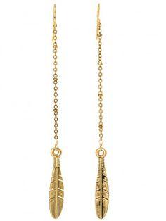 Feather Earrings - Gold - Earrings | Vanessa Mooney Jewelry