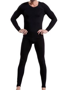Godsen Men's Thermal Long John Underwear Set V neck Tops and Bottoms *** Check this awesome image : Hiking gear Big & Tall Jeans, Black Jeans, Long John Underwear, Underwear Sets, Mens Thermal Long Johns, Big And Tall Stores, Big And Tall Outfits, Camping Outfits, Tall Guys