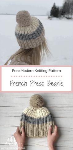 Free Fisherman's Rib Hat Knitting Pattern - French Press - Whimsy North Beanie Knitting Patterns Free, Loom Knitting, Knit Patterns, Free Knitting, Rib Stitch Knitting, Loom Knit Hat, Knit Beanie Pattern, Knitting Blogs, Knitting Stitches