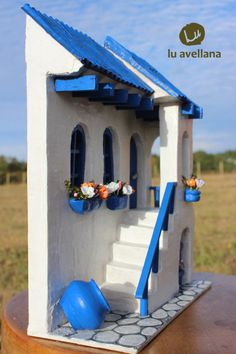 Framework Santorini by Vincenzo Abbot Clay Houses, Ceramic Houses, Stone Houses, Miniature Fairy Gardens, Miniature Houses, Greece House, Pottery Houses, Clay Wall Art, Vitrine Miniature