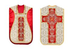 Red & Gold #Roman #Chasuble with PAX embroidered