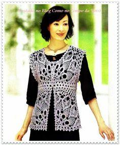 Blusa crochet beige, corte imprerio, con motivo de piñas. Como No Tempo da Vovó: LINDA BLUSA EM CROCHÊ COM GRÁFICOS