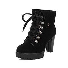 AmoonyFashion Women's Round Closed Toe High-Heels Frosted Low-top Solid Boots *** Read more reviews of the product by visiting the link on the image.