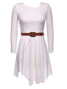 Stylish Asymmetrical Hems Plain Skater-dress Skater Dresses from fashionmia.com