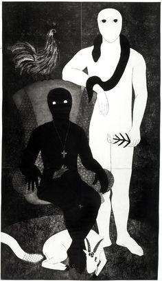 "Belkis Ayón, ""La familia"" (The Family), 1991. Collograph."