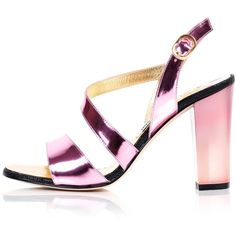 Kim Kwang - Metallic Effect Timeless Classic Sandals Pink ($730) ❤ liked on Polyvore featuring shoes, sandals, high heel shoes, leather shoes, metallic sandals, handcrafted leather shoes and pink sandals