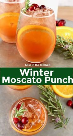 Winter Moscato Punch is a great party cocktail for holiday dinners and parties. Made with just a few ingredients, this sangria is easy to make ahead of the party. Cocktails Winter Moscato Punch {Large Batch} - Miss in the Kitchen Winter Cocktails, Easy Cocktails, Fun Drinks, Yummy Drinks, Cocktail Recipes, Party Drinks, Cocktail Ideas, Cocktail Drinks, Alcoholic Beverages