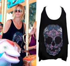 Super Model Heidi Klum Rocks the Macy Color Feather Skull open shoulder tee at a adventure park with her kids Hollywood Style, Hollywood Fashion, Women Lifestyle, Lifestyle Clothing, Rainbow Lips, Super Model, Heidi Klum, Latest Fashion, Rocks