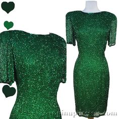 Vintage 80s Green Beaded Silk Party Dress S/M, $98.00
