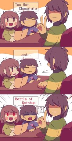 this is what I feel like Frisk and Chara's relationship looks like Undertale Undertale, Undertale Comic Funny, Undertale Drawings, Kfc, Comic Anime, Toby Fox, Mini Comic, Indie Games, The Villain